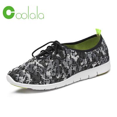 红蜻蜓coolala 2017春季新款 时尚舒适女单鞋 网布透气跑鞋运动鞋