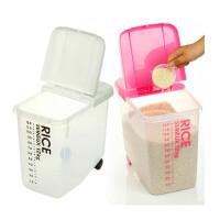 双庆 塑料加厚装米桶储米箱 防虫防潮密封带轮米缸12KG面粉桶面桶