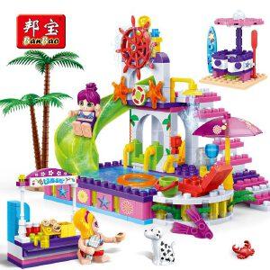 【当当自营】邦宝小颗粒益智拼插媚力沙滩女孩积木玩具礼物水上乐园6141