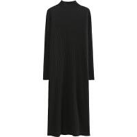 毛衣连衣裙女生2018新款韩版中长款过膝高领打底裙子秋冬季 均码