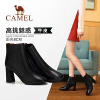骆驼女鞋2018冬季新款短靴 时尚休闲韩版百搭真皮靴子高跟女靴