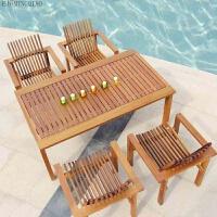 户外家具 休闲桌椅阳台别墅休闲庭院柚木桌椅组合实木桌椅五件套