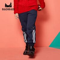 【2件3折价:39】巴拉巴拉旗下 巴帝巴帝男童加绒长裤抽绳侧边条纹运动2018冬季新款