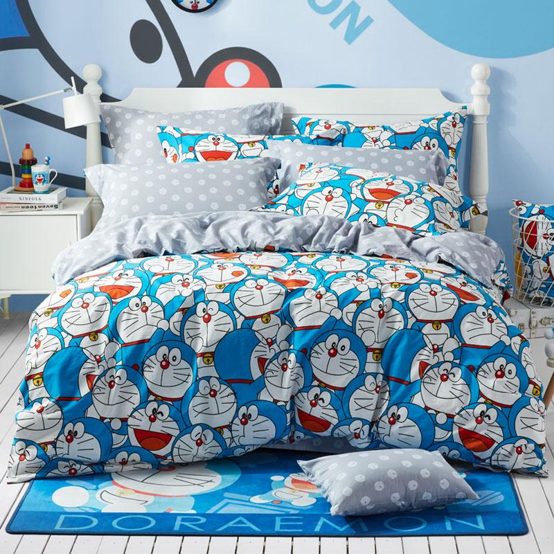 LOVO家纺 哆啦A梦全棉床品三/四件套卡通童趣床单被套小背包装套件 美妙心情
