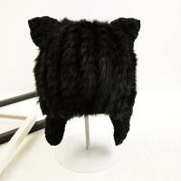 甜美可爱猫耳朵毛线帽韩版兔毛皮草帽子女卖萌时尚针织帽 黑色 单面毛 可调节