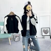 2018春装新款子装 刺绣黑白拼接色毛衣外套母子母女装针织衫 黑白色,现货