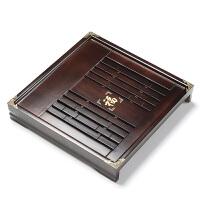 林仕屋 正方形木制茶海台托盘茶托 抽屉式排水大号功夫茶具 实木茶盘CP2697