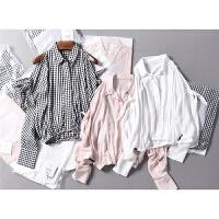 西班牙甜美减龄绑带露肩袖舒适降温短款人造MIAN衬衫春夏女装0.15