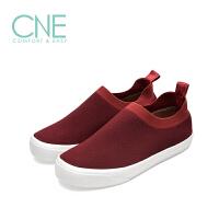 CNE2019春夏款纯色圆头舒适平底套脚休闲鞋袜子鞋女单鞋9T19303