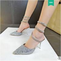 春夏新款蛇形缠绕水钻凉鞋浅口尖头细跟高跟鞋性感单鞋女