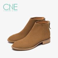 【12.12全场3折】CNE2019秋冬款日系纯色简约中跟后拉链及踝靴女短靴9T28803