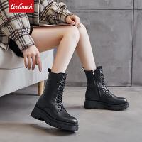 Coolmuch女士秋冬款高帮厚底马丁靴百搭休闲英伦风机车鞋工装靴YG501-1