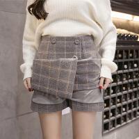 毛呢短裙A字裙半身裙女学生格子韩版显瘦高腰裤裙