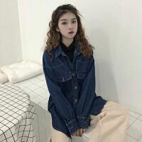 秋冬女装韩版衬衣拼接高领T假两件牛仔学生宽松长袖夹克上衣外套