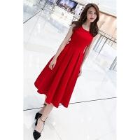 时尚红色连衣裙2018新款女装春夏装沙滩裙雪纺裙子中长款修身显瘦背带裙小红裙女潮 红色