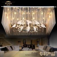 客厅灯 水晶灯 长方形LED吸顶灯饰主卧室客厅水晶灯具房间书房大灯长方形欧式温馨大气 长120*80厘米 LED无极调光