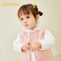 巴拉巴拉宝宝马甲秋冬外穿婴儿背心加厚保暖加绒纯色百搭