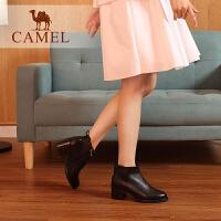 camel骆驼女鞋冬季新款短靴 秋季时尚韩版百搭真皮靴子粗跟女靴