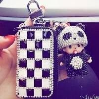 创意汽车钥匙包套卡通车用钥匙扣挂件时尚水钻零钱包女士装饰用品