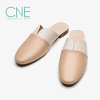 CNE2019夏季新款拖鞋女外穿包头圆头拼暖色穆勒鞋女拖鞋AM19801