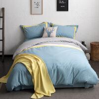 【官方旗舰店】床上四件套纯棉全棉简约大气拼接撞色北欧样板房样板间床品磨毛