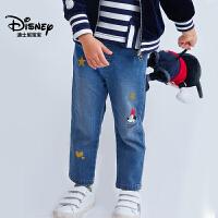 迪士尼宝宝流光宇宙女童梭织时尚牛仔裤