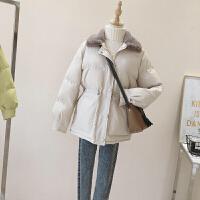 羽绒女中长款2018新款冬季韩版收腰兔毛领棉袄ins面包服外套