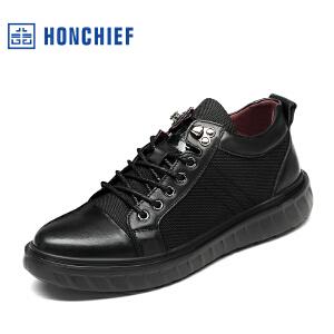 HONCHIEF 红蜻蜓旗下 秋冬新款男士运动休闲男鞋真皮潮流男单鞋