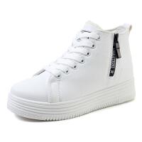 秋冬季加绒帆布鞋女内增高鞋子厚底平跟韩版女学生板鞋棉鞋布鞋女