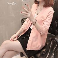 女装2018春装新款女士短款开衫韩版毛衣女长袖针织衫外套女时尚潮 粉红色 S