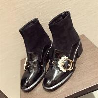 马丁靴女韩版水钻金属皮带扣圆头短靴子2018秋季新款中跟拼接女靴 黑色