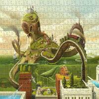 拼图1000片木质1500减压儿童益智玩具动漫风景画章鱼乐园