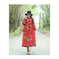 2018冬季新款民族风女装加绒加厚棉麻印花带帽长袖开衫外套风衣女