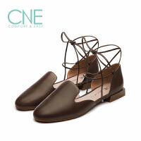 【顺丰包邮,大牌价:294】CNE2019夏季新款凉鞋女晚晚鞋绑带罗马鞋乐福鞋女凉鞋AM06313