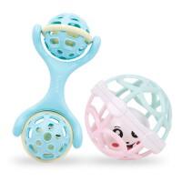 (2件套)0-1岁婴儿玩具安抚益智早教玩具摇铃宝宝手抓球新生儿软胶健身球