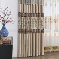 君别新中式窗帘客厅雪尼尔中式古典卧室阳台落地飘窗遮光布料成品定制 咖啡色 窗帘