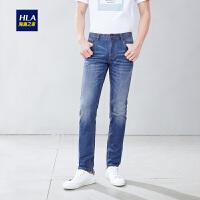 HLA/海澜之家时尚猫须牛仔裤2019春季新品五袋款中腰牛仔长裤男