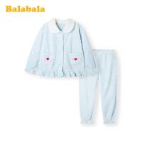 巴拉巴拉女童家居服冬季新款儿童睡衣套装加厚保暖珊瑚绒甜美洋气