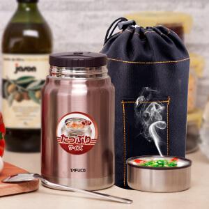 日本泰福高成人保温饭盒焖烧壶焖烧杯超大容量真空不锈钢闷烧罐桶褐色750ml