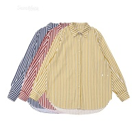 2018春季新款韩版简约百搭显瘦竖条纹开衫排扣长袖衬衫女学生
