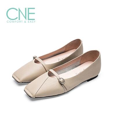 CNE2019春夏款晚晚鞋方头奶奶鞋平底镂空玛丽珍鞋女单鞋9M14001 平底镂空玛丽珍鞋女单鞋
