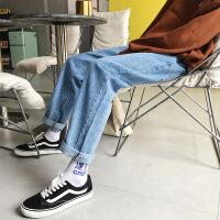情侣港风18新款秋冬牛仔裤长裤男宽松火休闲裤