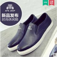 战地吉普男鞋 新款休闲皮鞋透气乐福鞋真皮板鞋男士休闲鞋B0910