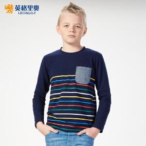 英格里奥新款男童纯棉长袖T恤儿童休闲条纹打底衫3002