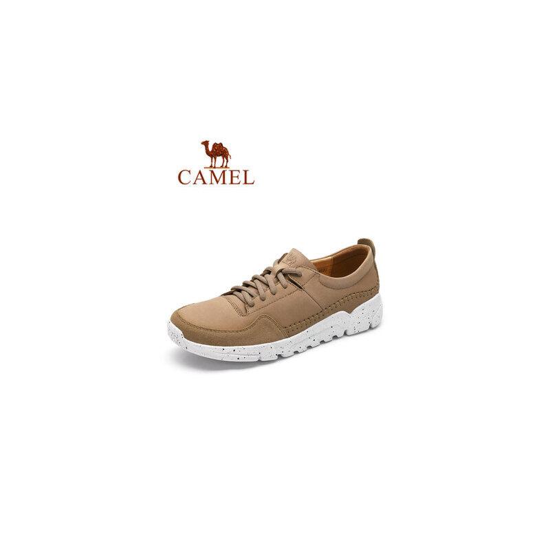 骆驼2019春季新款男士休闲皮鞋系带防滑缝线运动鞋复古真皮鞋子潮