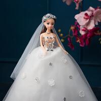 芭比娃娃婚纱结婚礼物齐地可儿公主新娘摆件儿童生日女孩W009