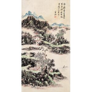 黄宾虹款 (附潘深亮鉴定证书)《山水》纸本立轴