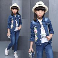 2018春装新款中童小学生女孩两件套儿童休闲韩版外套女童牛仔套装