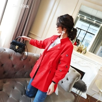 风衣女中长款韩版春装2018新款女装时尚立领双排扣抽带收腰外套潮 大红色