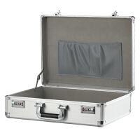 手提式密码箱文件保险箱子带锁收纳箱铝合金工具箱证件公文储物箱 拉丝银 大号